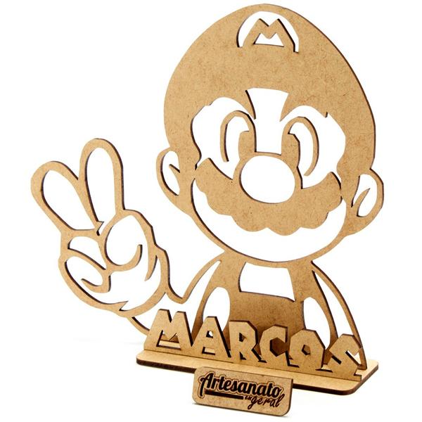 10 Centro De Mesa Mario Bros Personalizado Mdf Festa 12 cm