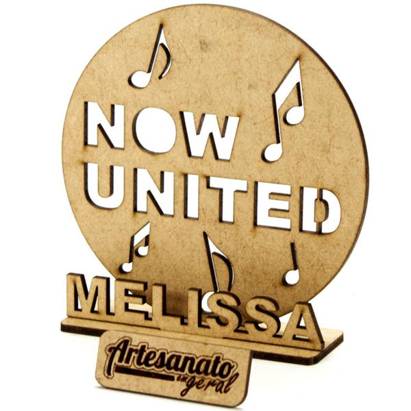 10 Centro De Mesa Now United Personalizado Mdf Festa 12 cm